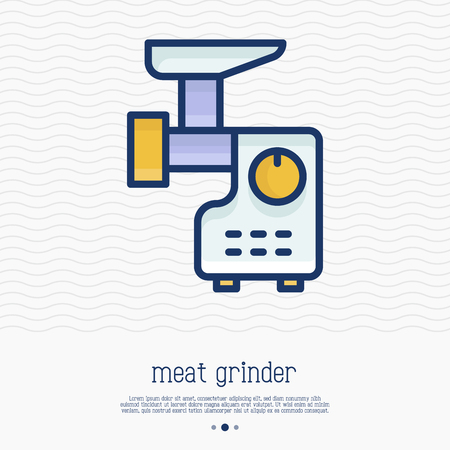 Meat grinder thin line icon. Simple vector illustration of home appliance.