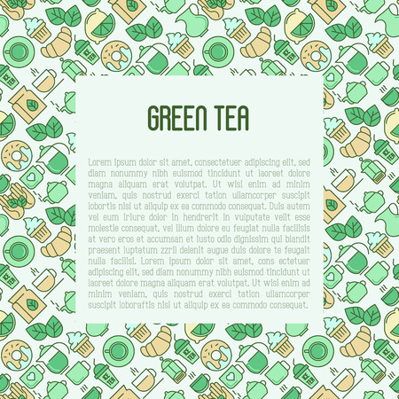 Green tea ceremony and sale of tea beverages concept with thin line icons. Vector illustration for web page, banner and print media. Ilustrace