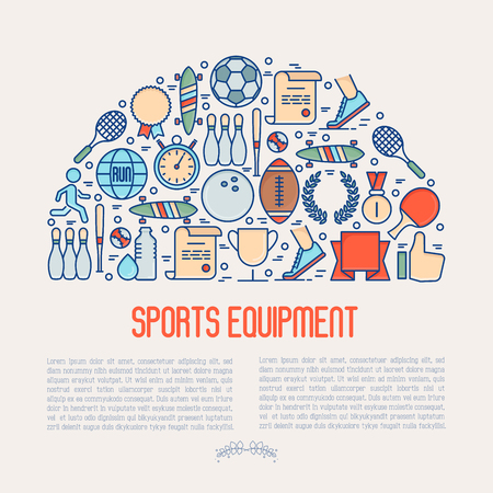 Sport equipment concept in half circle with thin line sport and winning games icons. Vector illustration for banner, web page, print media.