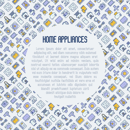 Home appliances concept with thin line icons: refrigerator, coffee machine, microwave, fryer and place for text. Household vector illustration for banner, web page, print media. Illustration