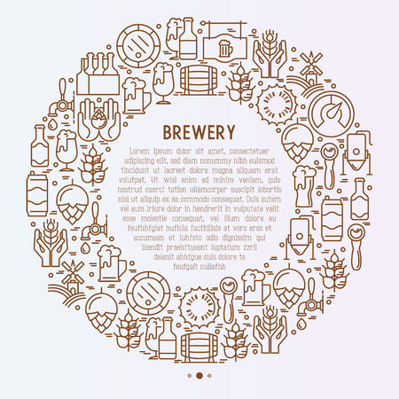 Beer concept in circle with thin line icons related to brewery and Beer October Festival. Modern vector illustration for banner, web page, print media with place for text inside. Иллюстрация