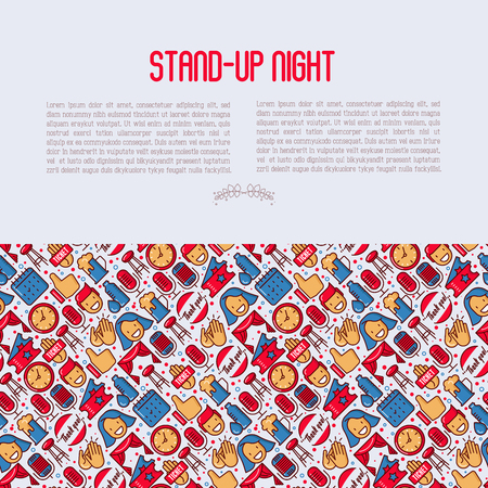 Stand up comedy show concept with thin line icons. Vector illustration for banner, web page, print media.