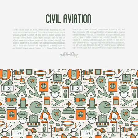 Civil aviation concept contains thin line icons related to airport and tourism. Vector illustration for banner, web page, print media. Illustration