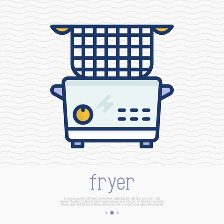 Electronic deep fryer thin line icon. Home appliance simple vector illustration for cooking  french fries and roast product in hot oil.