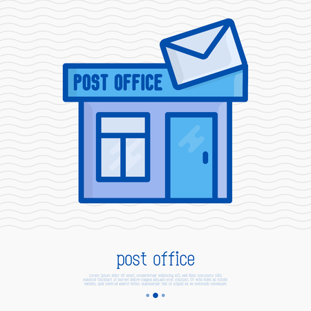Post office building with envelope on the roof thin line icon. Vector illustration.