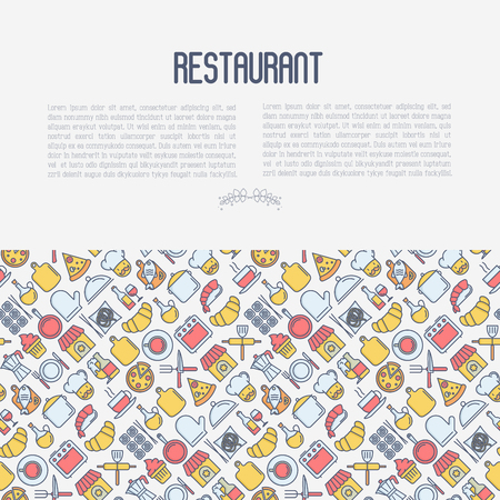 Restaurant concept with thin line icons: chef, kitchenware, food, beverages for menu or print media. Vector illustration for banner, web page. Illustration