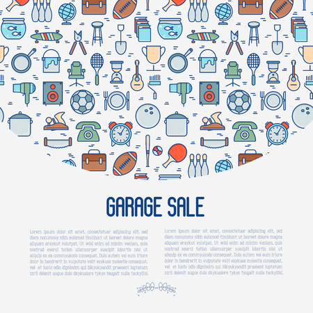 Garage sale or flea market concept with place for text. Thin line vector illustration for banner, web page, print media.