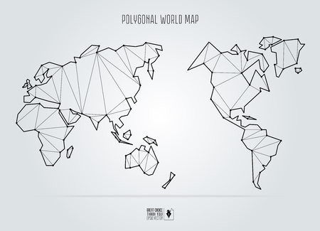 Polygonal abstract world map, Asia in the center. Vector illustration. Illustration