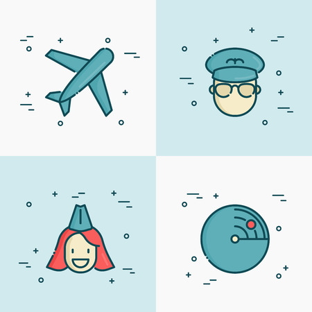 Airplane, pilot, stewardess and radar thin line icons. Vector illustration related to airport and aviation .