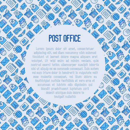 Post office concept with thin line icons. Symbols of shipping, delivery, packaging. Vector illustration for banner, web page, print media. Illustration