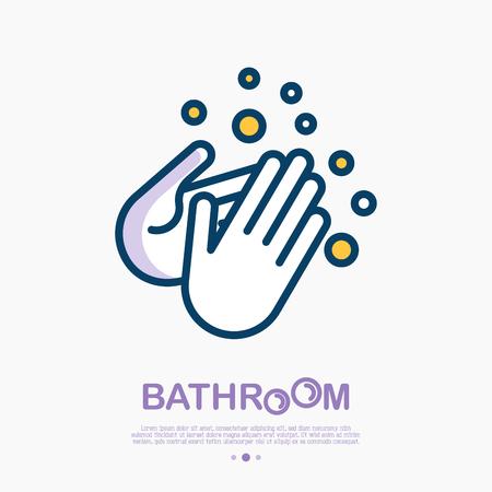 Lávese las manos con el icono de línea fina de jabón. Ilustración de vector de desinfección e higiene para la salud.