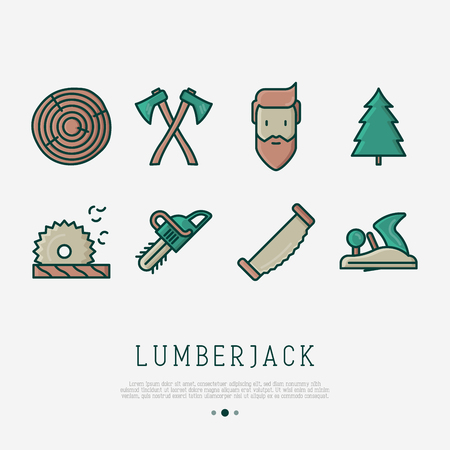 Logging and lumberjack with beard and related thin line icons: chainsaw, jack-plane, forestry equipment, timber, lumber. Vector illustration.