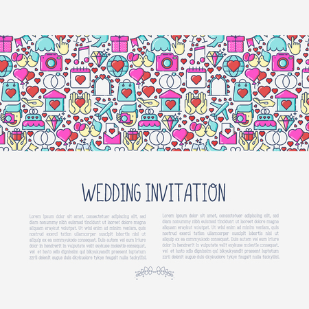 Wedding invitation concept with thin line icons of dove, camera, photographer, bride, dress, balloons. Vector illustration for banner, web page, print media.
