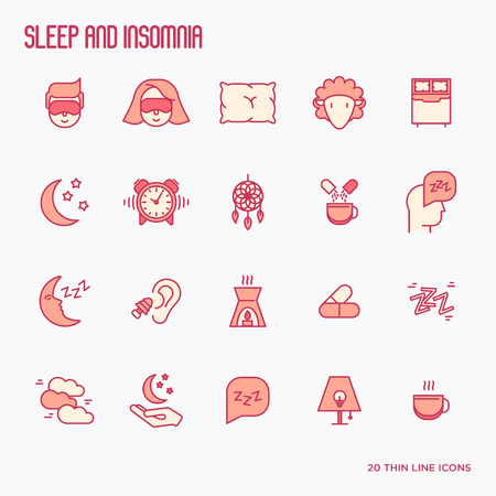 Sleep and insomnia thin line icons: man in sleeping mask, comfortable pillow, alarm, aroma lamp, earplugs, sheep. Vector illustration.