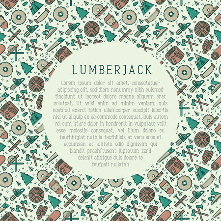 Logging and lumberjack with beard concept and related thin line icons: jack-plane, sawmill, forestry equipment, timber, lumber. Vector illustration for banner, web page, print media. Stock Illustratie