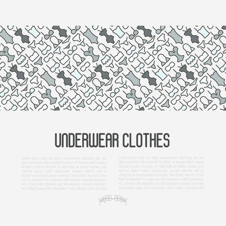 Underwear clothes concept with thin line icons of bikini, bra, tankini, pants. Vector illustration for web page, banner, print media. Illustration