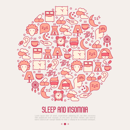 Sleep and insomnia concept in circle with thin line icons: man in sleeping mask, comfortable pillow, alarm, aroma lamp, earplugs, sheep. Vector illustration for banner, web page, print media.