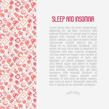Sleep and insomnia concept with thin line icons: man in sleeping mask, comfortable pillow, alarm, aroma lamp, earplugs, sheep. Vector illustration for banner, web page, print media.