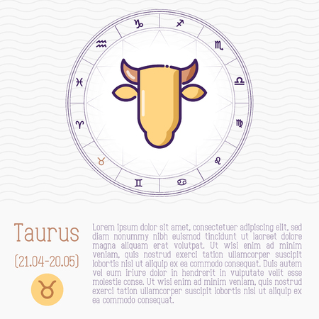 Taurus in zodiac wheel, horoscope chart with place for text. Thin line vector illustration.
