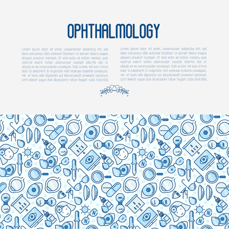 Ophthalmology concept with vision care thin line icons. Vector illustration for banner, web page, print media.