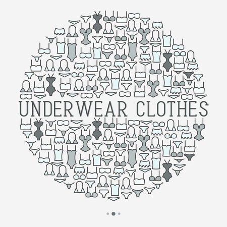 Underwear clothes concept in circle with thin line icons of bikini, bra, tankini, pants. Vector illustration for web page, banner, print media.