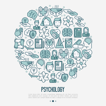 Psychological help concept in circle with thin line icons. Vector illustration for web page, banner, print media. Vettoriali