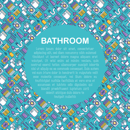 Bathroom equipment concept with thin line icons. Hygiene, purity, beauty, plumber related icons. Vector illustration for banner, web page, print media. Illustration