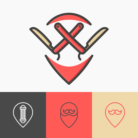 Four minimalistic pointers for barber shop: with straight razor, mustache, beard, pole. Thin line symbols of hairdresser. Vector illustration. Stock Illustratie