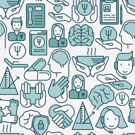 Psychological help seamless pattern with thin line icons. Vector illustration for web page, banner, print media. Illustration
