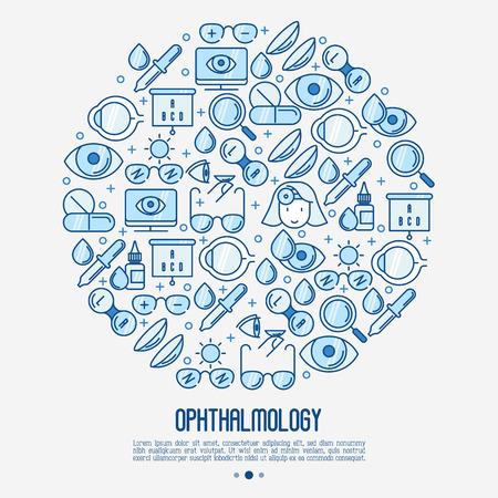 Concepto de oftalmología en círculo con iconos de delgada línea de cuidado de la visión. Ilustración de vector de banner, página web, medios impresos.