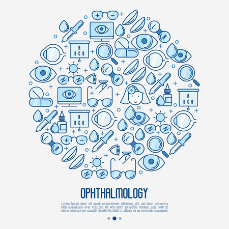 Ophthalmology concept in circle with vision care thin line icons. Vector illustration for banner, web page, print media.