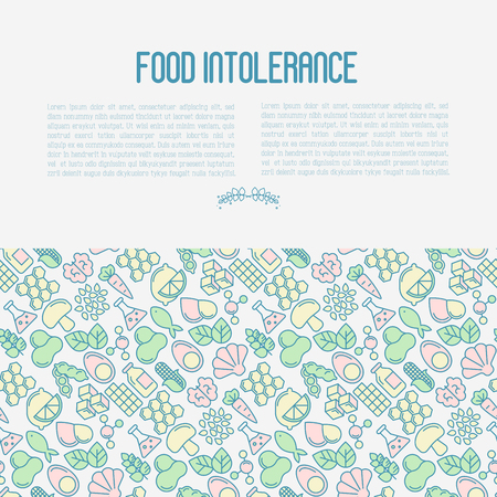 Food intolerance concept with thin line icons of common allergens, sugar and trans fat, vegetarian and organic symbols. Vector illustration. Illustration