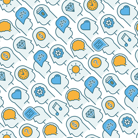 Human thinking seamless pattern with thin line icons of head silhouette. Vector illustration for survey about human brain, web page of psychologist, print media.