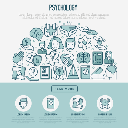 Psychological help concept with thin line icons. Vector illustration for web page, banner, print media. Banco de Imagens - 102052178
