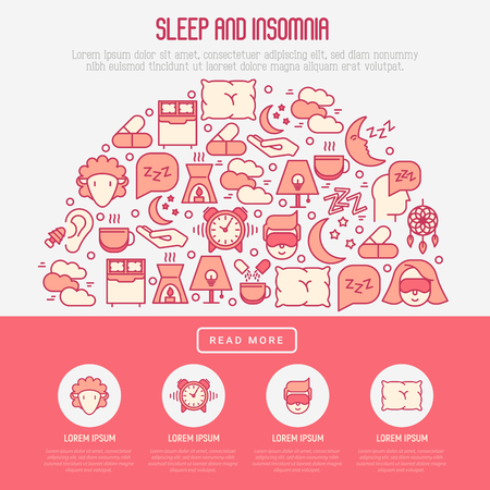 Sleep and insomnia concept in half circle with thin line icons: man in sleeping mask, comfortable pillow, alarm, aroma lamp, earplugs, sheep. Vector illustration for banner, web page, print media. Illustration