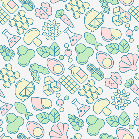 Food intolerance seamless pattern with thin line icons of common allergens, sugar and trans fat, vegetarian and organic symbols. Vector illustration for background.