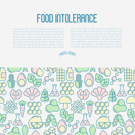 Food intolerance concept with thin line icons of common allergens, sugar and trans fat, vegetarian and organic symbols. Vector illustration. Vectores