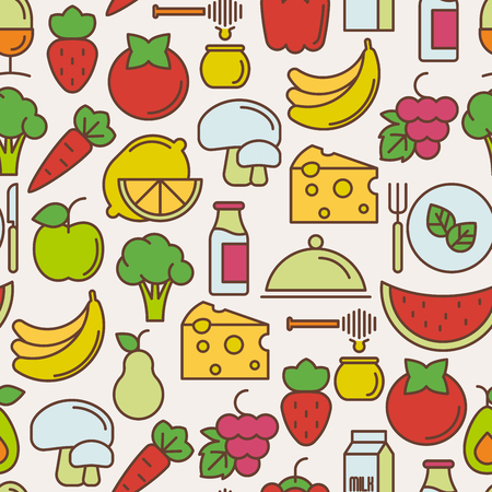Organic food seamless pattern with thin line icons of fresh natural products, vegetarian groceries. Vector illustration for web site about healthy nutrition.