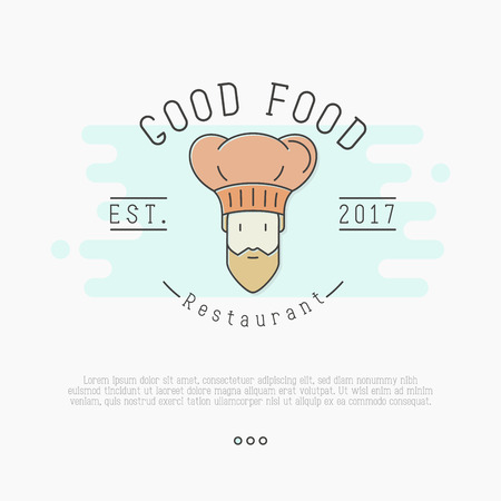 Bearded chef in hat for restaurant or cafe. Thin line vector illustration. Ilustração