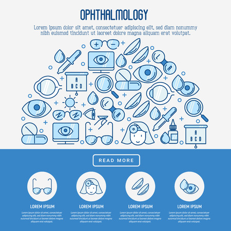 Ophthalmology concept with vision care thin line icons. Vector illustration for banner, web page, print media. Illustration