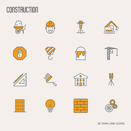 Building construction thin line icons. Vector illustration.