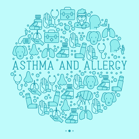 Asthma and allergy concept in circle for web page, banner of clinic, thin line icons with allergy symptoms and the most common allergens. Asthma inhaler. Vector illustration.