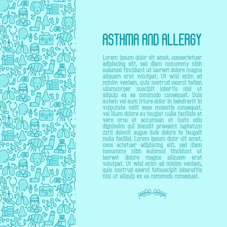El concepto de asma y alergia contiene patrones sin fisuras para la página web, el banner de la clínica, los iconos de líneas finas con síntomas de alergia y los alérgenos más comunes. Inhalador de asma. Ilustración de vector.