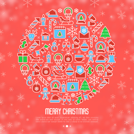 Christmas snow globe concept with thin line New Year and Christmas symbols for banner, invitation, greeting card, print media. Vector illustration on snowflake background.