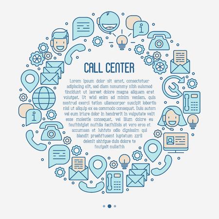 Concepto de servicio de soporte en círculo con centro de llamadas de línea delgada o iconos de servicio al cliente. Ilustración de vector de banner, página web del centro de llamadas.