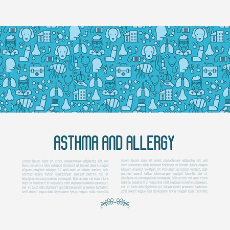 Asthma and allergy concept for web page, banner of clinic, thin line icons with allergy symptoms and the most common allergens. Asthma inhaler. Vector illustration.