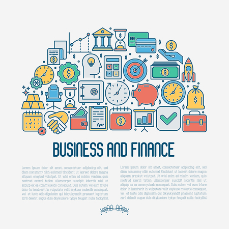 Business and finance concept with thin line icons related to financial strategy, planning, human thinking and start up. Vector illustration for banner, web page, print media.  イラスト・ベクター素材