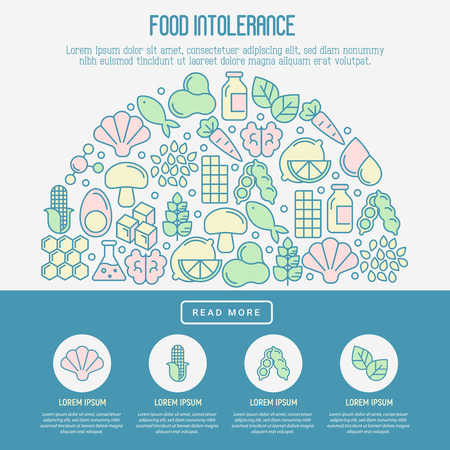 Food intolerance concept with thin line icons of common allergens (gluten, lactose, soy, corn and more), sugar and trans fat, vegetarian and organic symbols. Vector illustration. Vectores