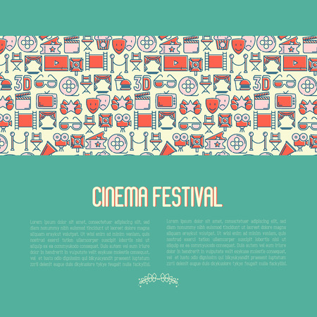 Cinema festival concept contains seamless pattern with thin line icons related to film. Vector illustration for banner, web page, announcement. Vettoriali