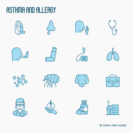 Asthma and allergy thin line icons set with allergy symptoms and the most common allergens. Asthma inhaler. Vector illustration.